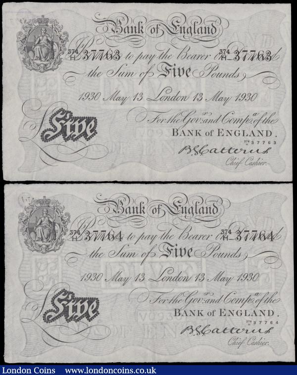 Catterns Five pounds white notes B228 (2) both dated 13th May 1930, a consecutively numbered pair series 374/H 37763 & 374/H 37764, (Pick328a), both have a small bank stamp on reverse, in PMG holders graded 55 About Uncirculated & 58 Choice About Uncirculated, rare in this condition and as a consecutive pair : English Banknotes : Auction 162 : Lot 118
