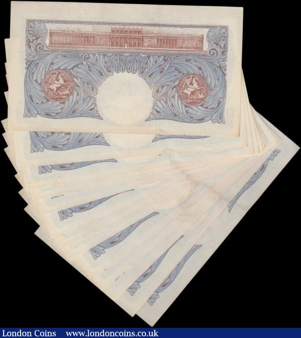 Peppiatt One Pound (13) B249 blue emergency issue 1940, a consecutively numbered run series J30E 870022 - J30E 870034, wartime issue, (Pick367a), light toning, almost Uncirculated  : English Banknotes : Auction 162 : Lot 129