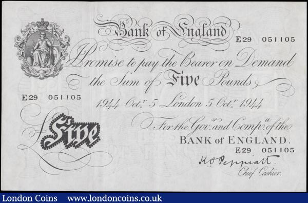 Peppiatt Five Pounds white note B255 dated 5th October 1944, series E29 051105, London issue, thicker paper issue, (Pick342), EF : English Banknotes : Auction 162 : Lot 133