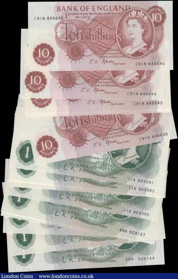 Bank of England (27), O'Brien 1 Pound (17) B281 & B282, 3 x first series notes with highest prefix A99, including a pair of consecutively numbered notes, a consecutively numbered pair of '01' notes series B01 574516 & B01 574517, a consecutively numbered pair of '99' notes series 99R 929127 & 99R 929128, plus a consecutively numbered run of 10 notes series 11K 903381 to 11K 903390, also Fforde 10 Shillings (10), B310, a consecutively numbered run series C91N 645636 - C91N 645645, all Uncirculated or about : English Banknotes : Auction 162 : Lot 141
