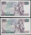 London Coins : A162 : Lot 148 : Somerset Twenty pounds (2) B351 issued 1984, FIRST RUN notes, one with low number series 01A 000546 ...