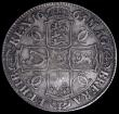 London Coins : A162 : Lot 1707 : Crown 1663 Cloak frosted, Extra curl below C, No Stops on Reverse ESC 27A, Bull 359 VG/Fine, Very Ra...