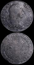 London Coins : A162 : Lot 1743 : Crowns (2) 1662 Rose below bust, edge undated ESC 15, Bull 339 Near Fine/Fine with old grey toning, ...