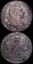 London Coins : A162 : Lot 1744 : Crowns (2) 1695 OCTAVO ESC 87, Bull 991 Fine or slightly better and nicely toned with a flaw  on the...