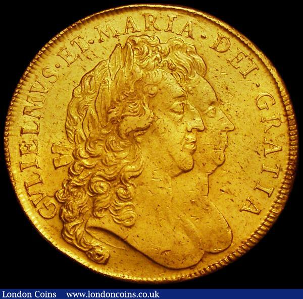 Five Guineas 1692 QVARTO S.3422 nEF/EF, desirable thus the obverse retaining some lustre : English Coins : Auction 162 : Lot 1749