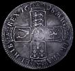 London Coins : A162 : Lot 1851 : Halfcrown 1698 DECIMO ESC 554, Bull 1034 VF with grey tone