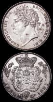 London Coins : A162 : Lot 1895 : Shilling 1825 Lion on Crown ESC 1254, Bull 2405 GEF lustrous, somewhat prooflike, Sixpence 1821 ESC ...