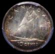 London Coins : A162 : Lot 2905 : Canada 10 Cents 1953 No Straps KM#51 UNC the obverse colourfully toned, in a PCGS holder and graded ...