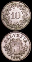 London Coins : A162 : Lot 2969 : Switzerland 10 Rappen 1871B KM#6 EF or slightly better, the reverse with a tone spot around 2 o&#039...