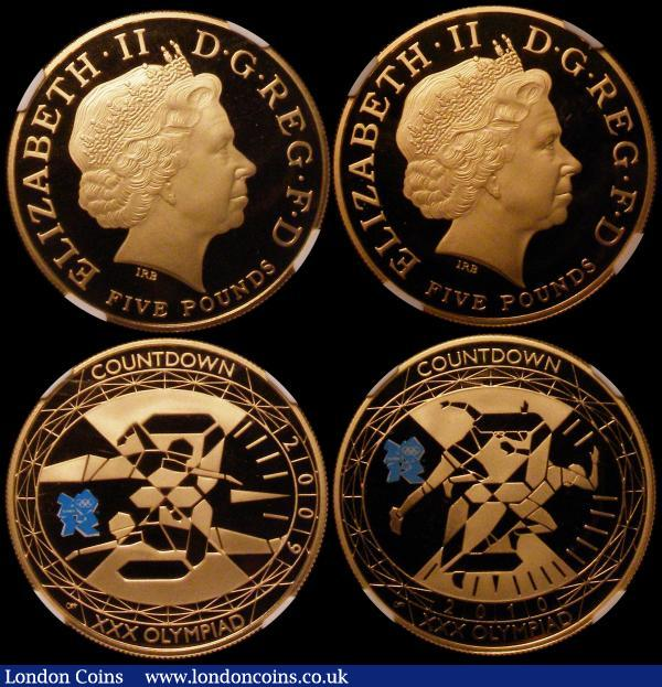 Countdown to the London Olympic Games, Five Pound Crowns (4) 2009 3-Year Countdown Gold Proof S.4920, 2010 2-Year Countdown S.4921, 2011 One Year Countdown S.4922 and 2012 Olympic Games S.4923 all Gold Proofs with the blue Olympic logo on the reverses, in NGC holders, each coin graded PF70 Ultra Cameo   : English Cased : Auction 162 : Lot 419