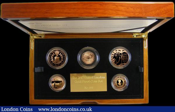 The 2017 United Kingdom Gold Proof Set a 5-coin set S.PGC20, comprising Five Pound Crown 2017 Centenary of the House of Windsor S.L49, Five Pound Crown 2017 1000th Anniversary of the Coronation of King Canute S.L50, Two Pounds (2) 2017 World War I - The War in the Air S.K44, 2017 200th Anniversary of the Death of Jane Austen S.K45, Fifty Pence 2017 S.H39 all Gold Proofs, FDC in the Royal Mint box of issue, a rare set, this being number 98 of only 100 sets produced : English Cased : Auction 162 : Lot 604