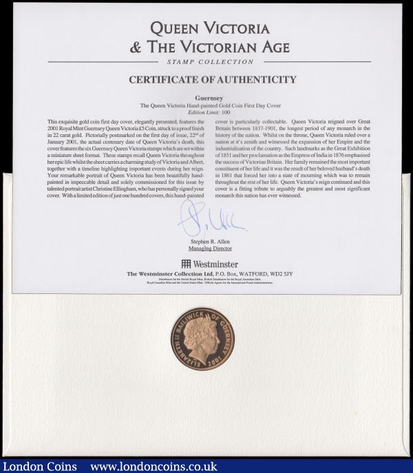 Guernsey Five Pounds 2001 Victoria Gold Proof FDC in Westminster's First Day Cover presentation pack    : World Cased : Auction 162 : Lot 743