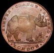 London Coins : A162 : Lot 867 : Halfpenny 18th Century Middlesex - Pidcock's undated, Obverse : Elephant, Reverse: Rhinoceros f...