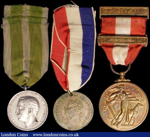 "Ireland, George IV Commemorative, Ireland Exaults in the Presence of Her King, bronze, 25mm., Emergency Medal 1939-46 for National Service with bar ""1939-1946"", reverse The Local Defence Force. bronze. GVF. (2). Italy, Messina Earthquake 1908, unnamed, silver.  GVF. (3). : Medals : Auction 162 : Lot 912"