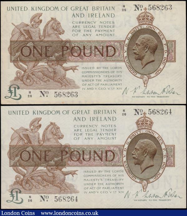One Pound Warren Fisher (2) T24 issued 1919, a consecutively numbered pair series N/26 568263 & N/26 568264, portrait KGV at right, light toning, original EF scarce as a pair : English Banknotes : Auction 163 : Lot 1315