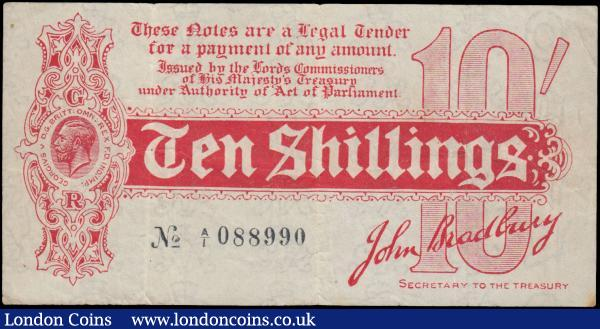 Bradbury 10 Shillings T9 issued 1914, FIRST prefix series A/1 088990, (Pick346), surface dirt, tiny centre pinhole, Fine : English Banknotes : Auction 163 : Lot 1322