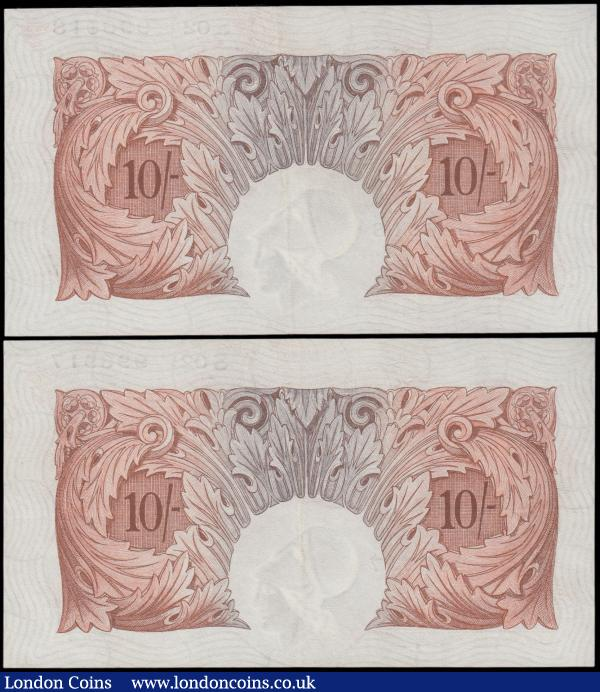Catterns 10 Shillings (2) B223 issued 1930, a pair of consecutively numbered notes series S02 996917 & S02 996918, (Pick362b), pressed good VF, look better  : English Banknotes : Auction 163 : Lot 1324