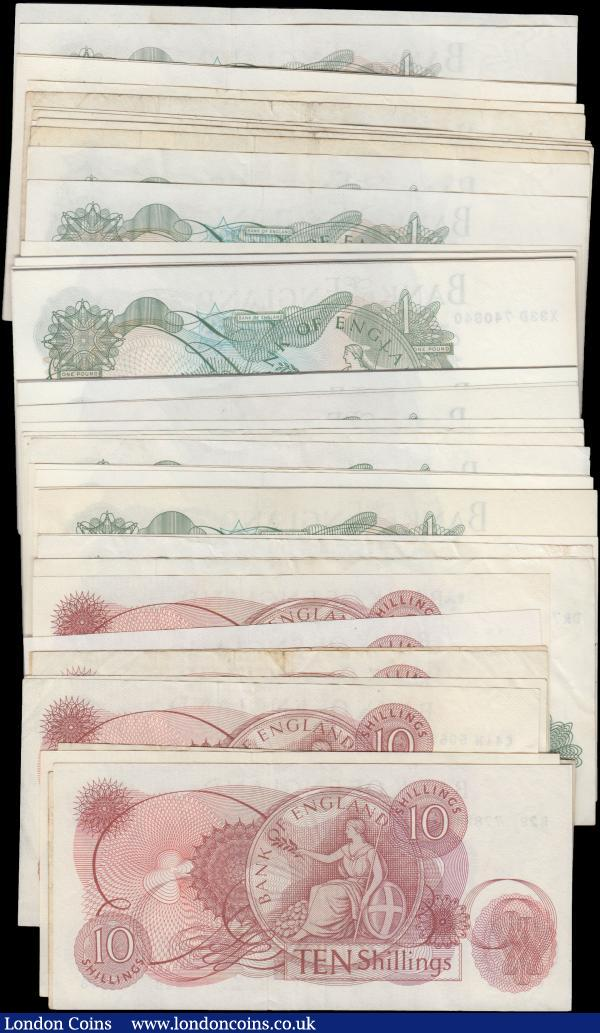 Bank of England collection of 10 Shillings & 1 Pound (61), 1 Pound (51) with signature varieties O'Brien (4), Hollom (5), Fforde (5) & Page (37), 10 Shillings (10) with signature varieties O'Brien (1), Hollom (2) & Fforde (7), FIRST series, REPLACEMENT and some consecutively numbered runs seen, mixed grades, many in high grade inc. Uncirculated : English Banknotes : Auction 163 : Lot 1341