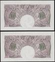 London Coins : A163 : Lot 1343 : Peppiatt 10 Shillings B251 (2) mauve emergency issue 1940, a pair of consecutively numbered notes se...