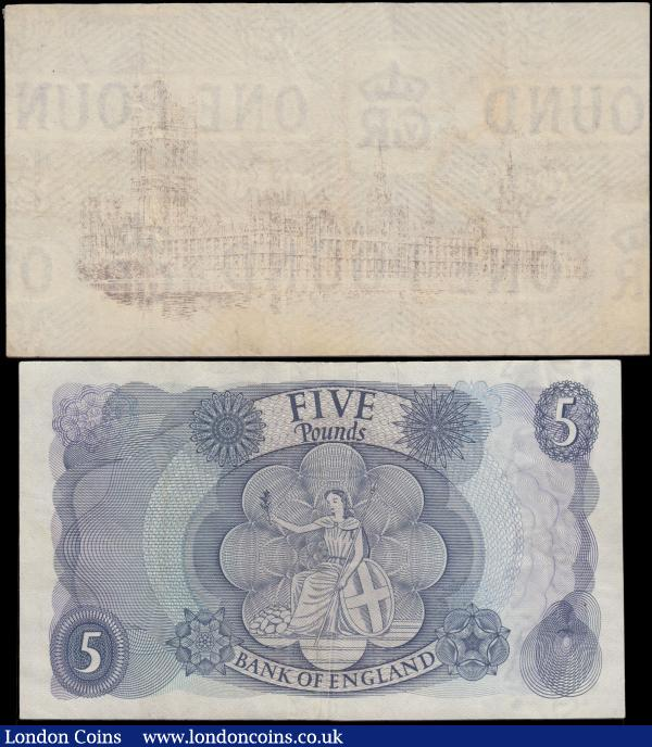 ERROR 5 Pounds Fforde B312 issued 1967, heavy unprinted paper crease, (Pick375b), a rare error, about EF, plus 1 Pound Warren Fisher with the print on reverse very feint, appears to have been washed/cleaned : English Banknotes : Auction 163 : Lot 1391