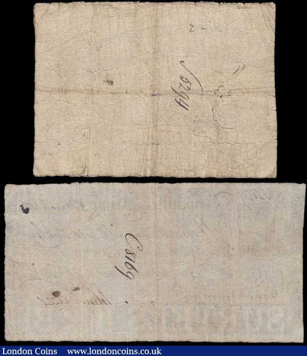 Newcastle upon Tyne (2), 1 Pound (or 20 Shillings) dated 1802 for Surtees, Burdon & Brandling (Out.1502g), vignette of The Exchange building top left, holes and splits, inked number on reverse, VG, 5 Pounds dated 180? for Surtees, Burdon, Surtees & Brandling, (Outing 1502d), vignette of The Exchange building top left, small holes and one larger hole over date, inked number on reverse, good VG : English Banknotes : Auction 163 : Lot 1394