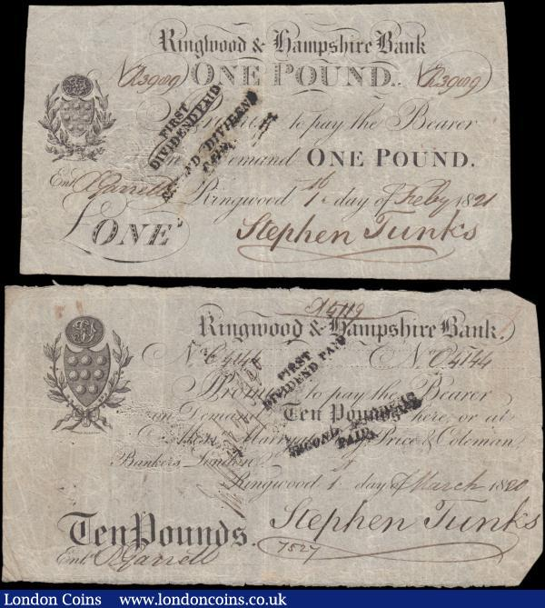 Ringwood & Hampshire Bank (2), 10 Pounds dated 1920 for Stephen Tunks (Outing 1788e), dividend stamps, small edge tear, pinholes, 2 cut corners, inked numbers on reverse, about Fine and a scarce high value, 1 Pound dated 1821 for Stephen Tunks (Outing1788b), dividend stamps, a few pinholes, Fine : English Banknotes : Auction 163 : Lot 1395