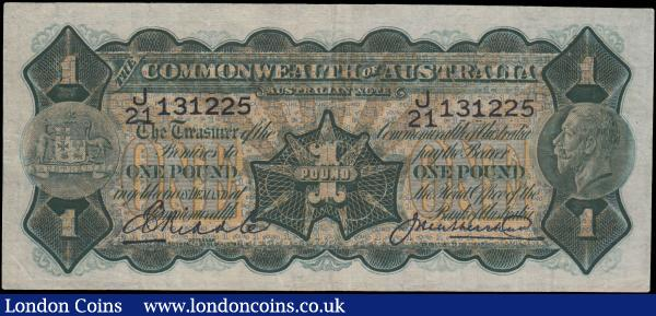 Australia Commonwealth 1 Pound issued 1927 series J/21 131225, portrait King George V at right, signed Riddle & Heathershaw, (Pick16c), cleaned/pressed Fine  : World Banknotes : Auction 163 : Lot 1399