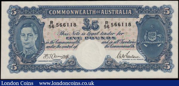 Australia Commonwealth 5 Pounds issued 1941 series R/56 566118, signed Armitage & McFarlane, portrait King George VI at right, (Pick27b), crisp EF : World Banknotes : Auction 163 : Lot 1403