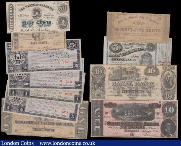 Confederate States (11), 1 and 10 Dollars dated 1864, State of Alabama 50 Cents dated 1863, State of Virginia 75 Cents dated 1862, State of Louisiana 5 Dollars 'Baby Bond' dated 1874, Canal Bank New Orleans 10 Dollars unsigned and undated remainder 18xx, State of North Carolina 5 Cents dated 1866, State of North Carolina set of 4 revenue notes, 25 & 50 Cents and 1 & 5 Dollars, all perforated 'PAID', in mixed grades, an interesting and varied lot of 19th century notes : World Banknotes : Auction 163 : Lot 1423
