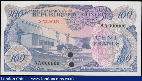 Congo Democratic Republic 100 Francs, a COLOUR TRIAL series AA 000000, SPECIMEN overprint on obverse and reverse, two punched cancellation holes through signatures, (Pick1ct), Uncirculated to about Uncirculated : World Banknotes : Auction 163 : Lot 1424