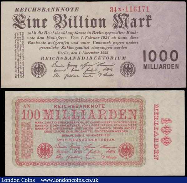 Germany (2), 1 Billion Mark dated 1st November 1923 series 34x.116171, (Pick129) good VF to about EF, 100 Milliarden Mark dated 5th November 1923, (Pick133) EF to good EF, a nice pair of very high denomination hyper-inflation notes : World Banknotes : Auction 163 : Lot 1463