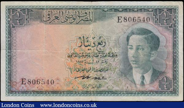 Iraq National Bank 1/4 Dinar, Law no.42 of 1947 first issue 1950, series E806540, portrait young King Faisal II at right, (Pick27), 2 pinholes and edge nicks, cleaned and pressed good Fine : World Banknotes : Auction 163 : Lot 1491