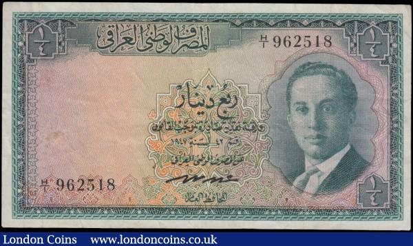 Iraq National Bank 1/4 Dinar, Law of 1947 issued 1955 series H/1 962518, portrait King Faisal II as an adolescent at right, (Pick37), some light dirt, nice original good Fine : World Banknotes : Auction 163 : Lot 1492