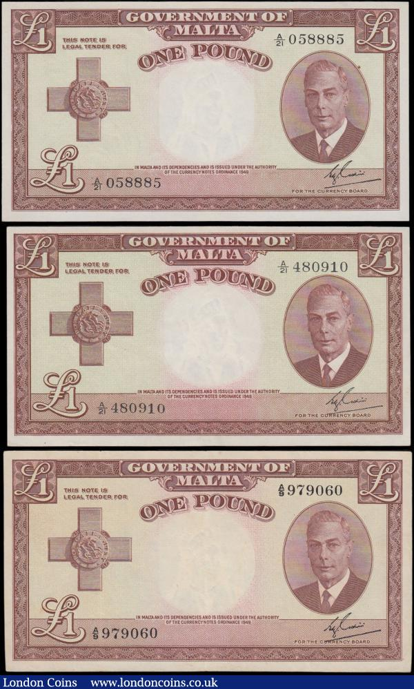 Malta Government (3), 1 Pound issued 1951, portrait King George VI at right, (Pick22a), 3 x grades, good VF, good EF and Uncirculated : World Banknotes : Auction 163 : Lot 1519