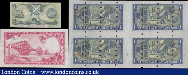 Scotland (6), Union Bank, an uncut sheet of 4 printers proof £1 all dated 8th December 1952, (Pick s816a), series F/33 801000, F/33 802000, F/34 826000 & F/34 827000, all with punch-holes & printers notes & bank stamps, mount marks reverse, National Commercial Bank 20 Pounds dated 16th September 1959 series A101852, annotation on obverse and reverse, (Pick267) VF, Bank of Scotland 1 Pound dated 25th August 1977 REPLACEMENT series Z/2 0543066, (Pick111c) about Uncirculated : World Banknotes : Auction 163 : Lot 1552