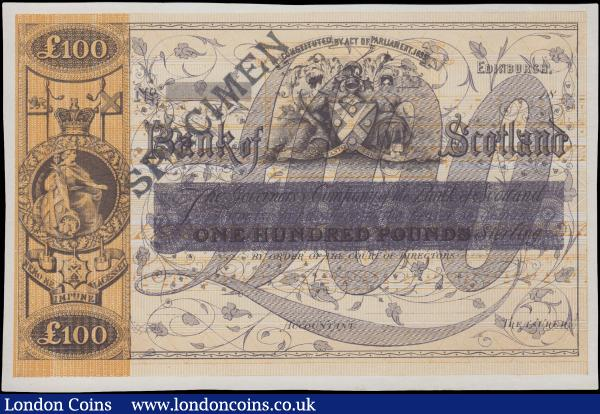 Scotland, Bank of Scotland 100 Pounds issued 1880 (dated 18xx), Experimental Colour Trial in purple, handstamped SPECIMEN in black, (Paper Money of Scotland BA78), about Uncirculated and rare : World Banknotes : Auction 163 : Lot 1567