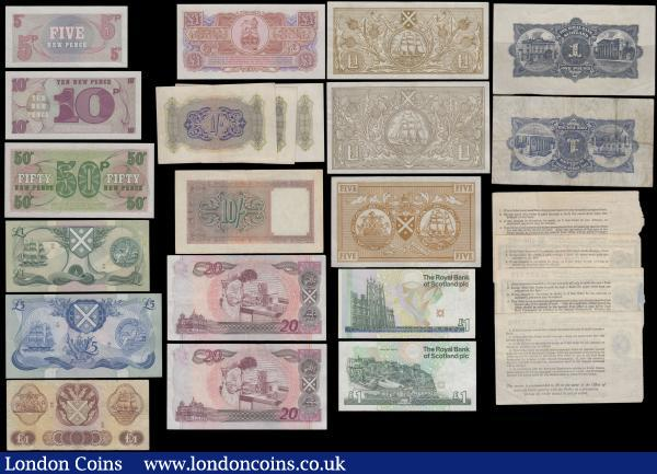 Scotland, British Military & British Postal orders (total 24 items), Bank of Scotland & Royal Bank of Scotland range (12), 1 Pound, 5 Pounds and 20 Pounds, British Military Authority (4), 1 Shilling and 10 Shillings issued 1943 for use in North Africa, British Armed Forces (4) and British Postal orders (4) 3 with portrait King George VI at top left, 1 with portrait Queen Elizabeth II at top left, nice collection in mixed grades : World Banknotes : Auction 163 : Lot 1568
