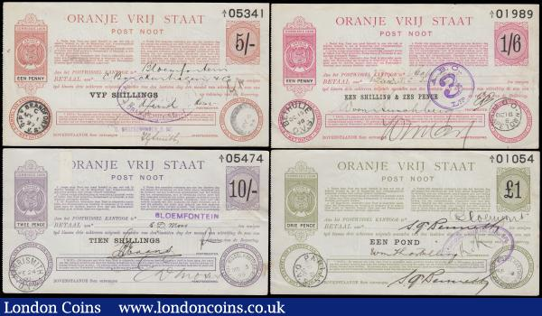 South Africa Orange Free State (Oranje Vrij Staat) postal orders (4) all dated between 1898 to1899, 1 shilling 6 pence, 5 shillings, 10 shillings and £1 generally VF or better : World Banknotes : Auction 163 : Lot 1575