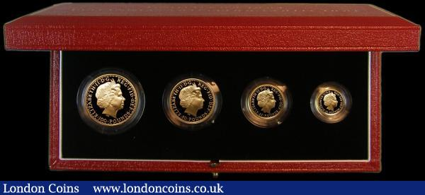 Britannia Gold Proof Set 2001 the 4-coin set comprising £100 One Ounce, £50 Half Ounce, £25 Quarter Ounce and £10 One Tenth Ounce S.PGB18 FDC in the Royal Mint box of issue with certificate : English Cased : Auction 163 : Lot 1645