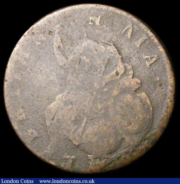 Mint Error - Mis-Strike Halfpenny 1694 an additional N in BRITANNNIA (3 Ns) and the King's name having and additional MVS at the end, VG unusual  : Misc Items : Auction 163 : Lot 166