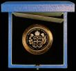 London Coins : A163 : Lot 1691 : Five Pound Crown 1990 Queen Mother 90th Birthday Gold Proof S.L3 FDC in the blue Royal Mint box of i...