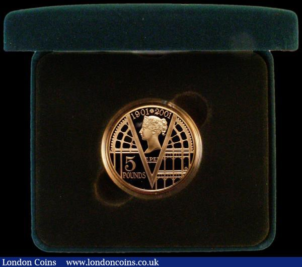 Five Pound Crown 2001 100th Anniversary of the End of the Victorian Era Gold Proof S.L9 FDC in the Royal Mint box of issue with certificate : English Cased : Auction 163 : Lot 1698