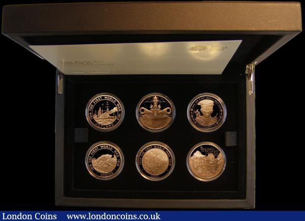 The 100th Anniversary of the First World War - A Story in Coins, Five Pound Crowns 2016 a 6-coin set in gold S.PGC19 (Third Set) comprising Somme S.4862, Jack Cornwell S.4863, Jutland S.4864, Troops S.4865, Army S.4866, Naval Gun - Dreadnought S.4867, all Gold Proofs FDC in the black Royal Mint box of issue with certificate and booklet, a superb and eye-catching set, number 20 of only 25 sets minted : English Cased : Auction 163 : Lot 1862