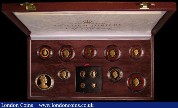 United Kingdom Golden Jubilee Gold Proof Set 2002 very impressive Royal Mint issue comprising 2002 £5 Crown, Two Pounds, One Pound, Fifty Pence, Twenty Pence, Ten Pence, Five Pence, Two Pence and One Penny plus Maundy Set, all struck in gold, FDC, in the hard red box of issue with certificate : English Cased : Auction 163 : Lot 1942