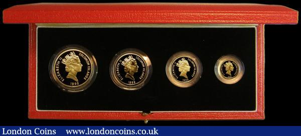 Solomon Islands Four Coin Gold Set 1992 50th Anniversary Coral Sea 1942 -1992, $10, $25, $50, $100 gold proofs FDC cased (Royal Mint logo) as issued with certificate, a rare and seldom offered set : World Cased : Auction 163 : Lot 2012