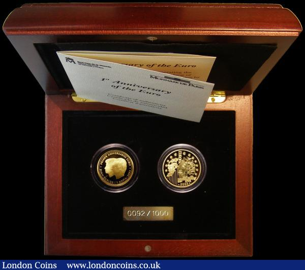 Spain/France First Anniversary of the Euro 2003 a 2-coin set comprising Spain 200 Euros 2003 KM#1075 Gold Proof and France 20 Euros 2003 KM#1339 Gold Proof both FDC in the box of issue with certificate : World Cased : Auction 163 : Lot 2013