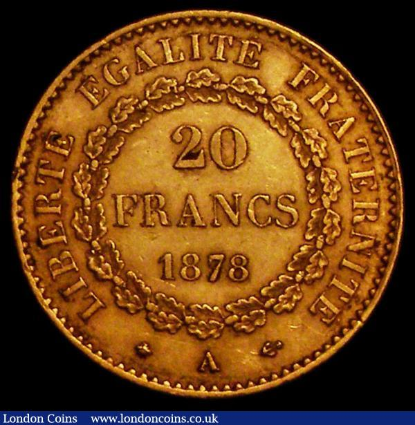 France 20 Francs Gold 1878A KM#825 NEF/GVF : World Coins : Auction 163 : Lot 2078