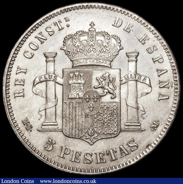 Spain 5 Pesetas 1884 (84) MS-M KM#688 UNC or near so with some contact marks, scarce in high grades : World Coins : Auction 163 : Lot 2155