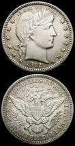 London Coins : A163 : Lot 2167 : USA (2) Half Dollar 1903 Breen 5084 EF, Quarter Dollar 1912 Breen 4211 A/UNC with a hint of toning i...