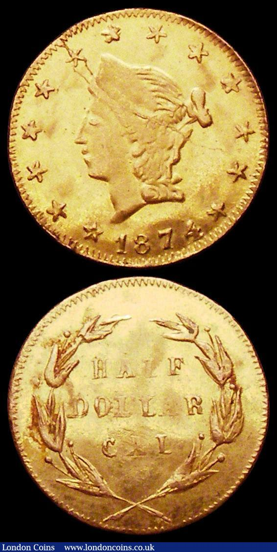 USA Half Dollar 1874 California Gold Round flan Good Fine, Quarter Dollar California Gold 1872 NVF with a flan flaw on the obverse : World Coins : Auction 163 : Lot 2180